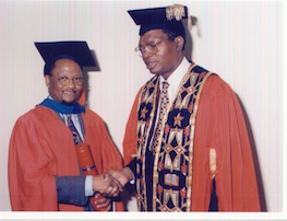 With Justice Pius Langa, Chancellor of University of Natal, at the award of m Honorary Doctorate (1999)